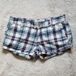 Aeropostale stretch shorts size 5/6 plaid blue